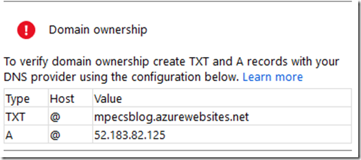 Error: Domain Ownership